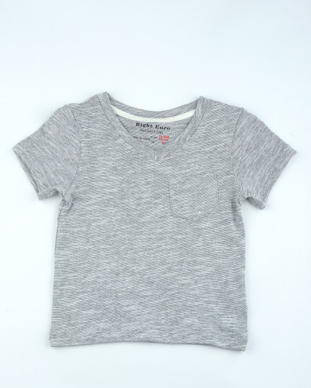 Plain V-neck Tshirt in Grey
