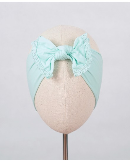 Lacey Nylon Bow Headband in Mint