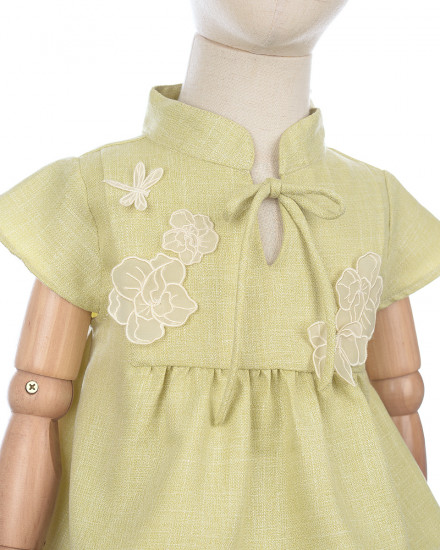 Yang Qipao Set for Kids in Lime