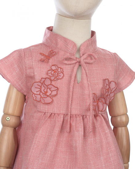 Yang Qipao Set for Kids in Red