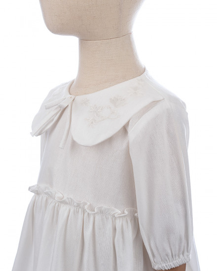 Cella Embroidery Collar Dress in White