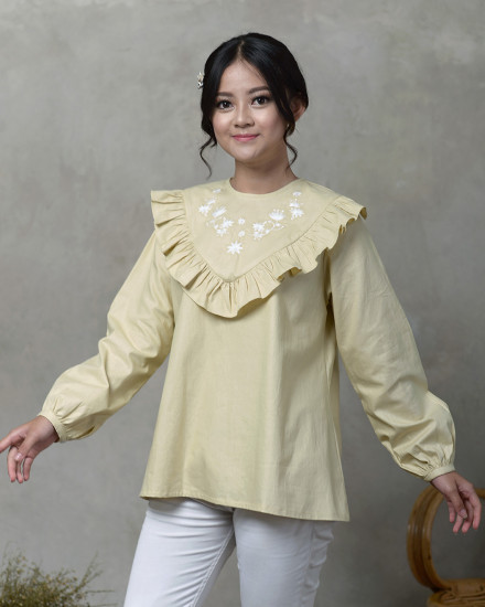 Lady Shaznaz Blouse in Soft Green