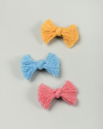 Indie Bow Mini Hairpin in Blue