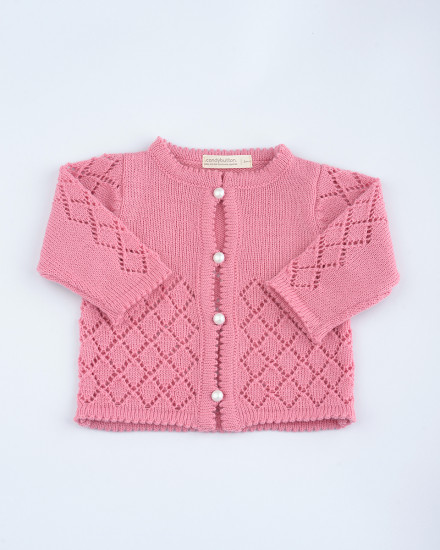 Cecille Knit Cardigan in Peony Pink
