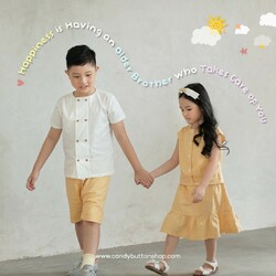 Happiness is having an older brothers who takes care of you.Of course! Who's agree with our quotes tonight? 🤗If you agree, go call or text your brother and send him some beautiful sentences that show how thankful you are, have a brother like him. ❤️#candybuttonshop #kidfashion #kidsaccessories #kidsgift #happythoughts