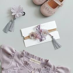 ON TREND : Lilac ✨ . Lilac symbolizes spring & renewal. It's soft & calm so it's perfect for any occasions ✨💫 . Are you ready to follow the trend? 😍 Shop now at www.candybuttonshop.com . #candybutton #candybuttonshop #chinesenewyear2020 #bajuimlek #kidshoes #babyheadband #hairpin #brooch
